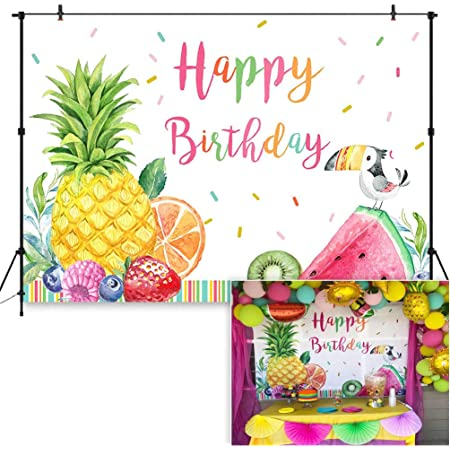 Zhy Fruit Theme Happy Birthday Backdrop Summer Birthday Party Photography Background 7x5ft Vinyl Summer Fruit Birthday Party Decoration Banner Backdrops Supplies