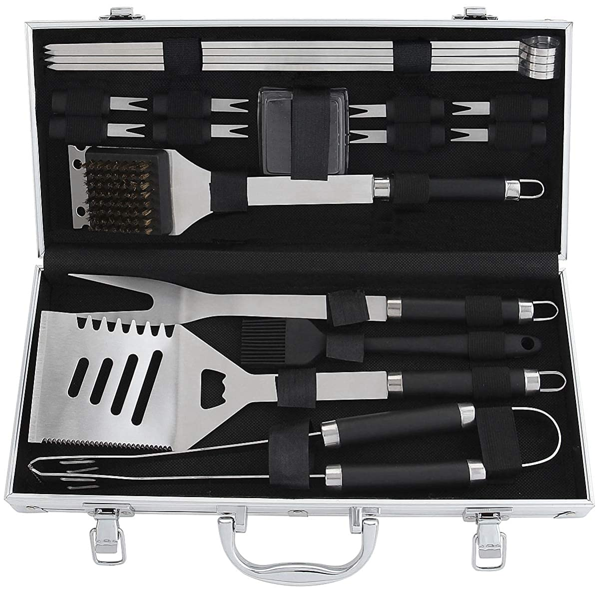 POLIGO 19PCS BBQ Accessories Set Stainless Steel Barbecue Grilling Utensils Kit Set with Aluminum Case for Camping - Premium BBQ Grill Tools Kit - Ideal BBQ Gifts Set for birthday Father's Day Dad Men