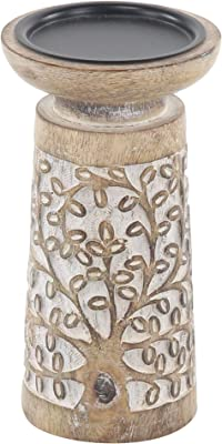 Benjara Wooden Round Top Candle Holder with Engraved Floral Design, Set of 3, Brown