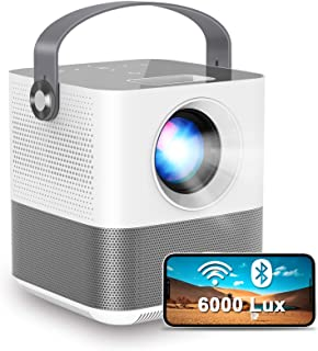 """FANGOR WiFi Projector, 200"""" Display&1080P Supported, 360° Speaker/Bluetooth, 6000L Portable Wireless Mini Projector for Ou..."""