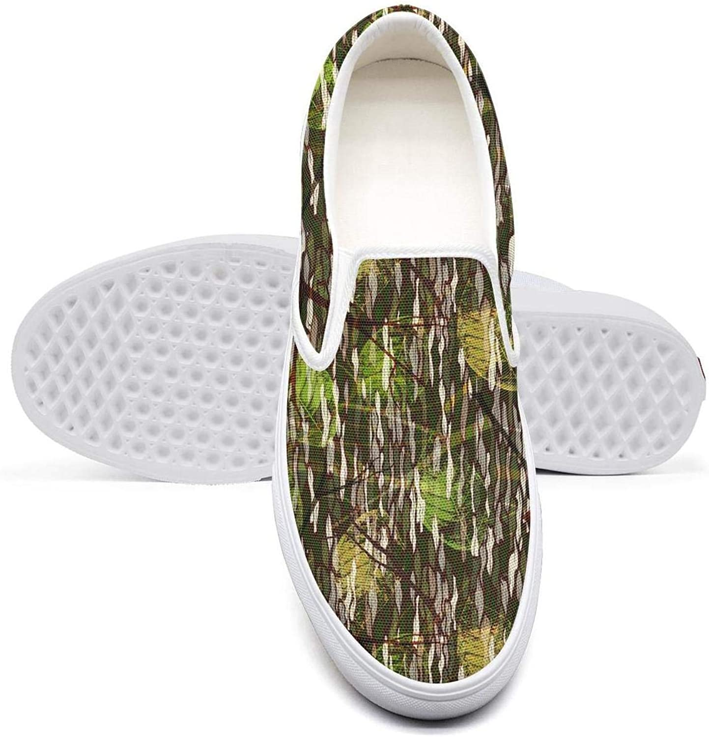 OIPVBDSEXZ Camouflage Realistic Leaves Young Women Casual Sneaker Canvas shoes Breathable Hunting shoes