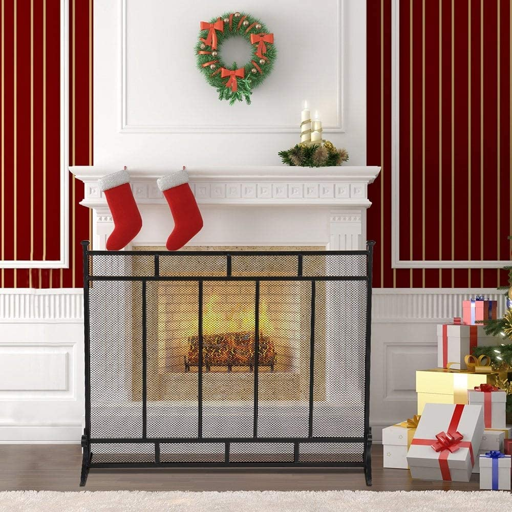 Unknown1 Vertical Grid Decorative Iron Bla famous Screen Fireplace Mesh sale