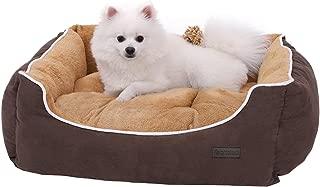 FEANDREA Cama para Perros, Sofá para Perros, Cesta para Perro con Cojín Extraíble, Marrón y Beige, 75 x 58 x 22 cm PGW05YC
