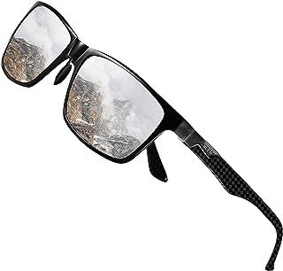 DUCO Sunglasses for Men Carbon Fiber Temples with Rectangular Polarized Metal Frame Sunglasses DC8206