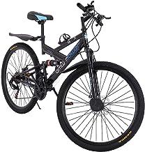 XiongBuy Mountain Bike 26 inch 21 Speed Men's Bike Double Disc Brake Folding Bike Carbon Steel...