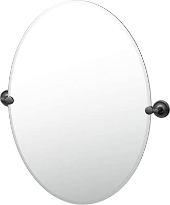 Gatco Designer II Frameless Oval Mirror, 32 Inch, Matte Black