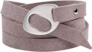 ACVIP Women's Manmade Suede Leather Buckled Belt Shaped Freestyle Wrap Bracelet