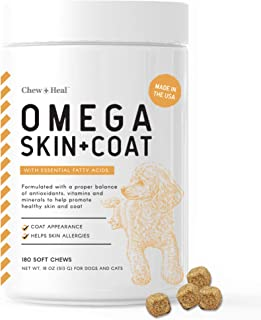 Chew + Heal Omega Skin and Coat Supplement - 180 Soft Chew Treats - Salmon Fish Oil for Dogs - Blend of Essential Fatty Ac...