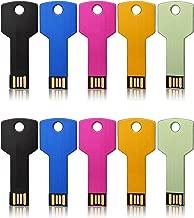 JUANWE 10 Pack 64GB USB Flash Drive USB 2.0 Metal Thumb Drives Jump Drive Memory Stick Key Shape