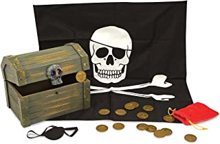 Melissa & Doug Wooden Pirate Chest (Pretend Play Treasure Chest Set, Pirate Dress-Up Accessories, Great Gift for Girls and Boys – Best for 6, 7, and 8 Year Olds)