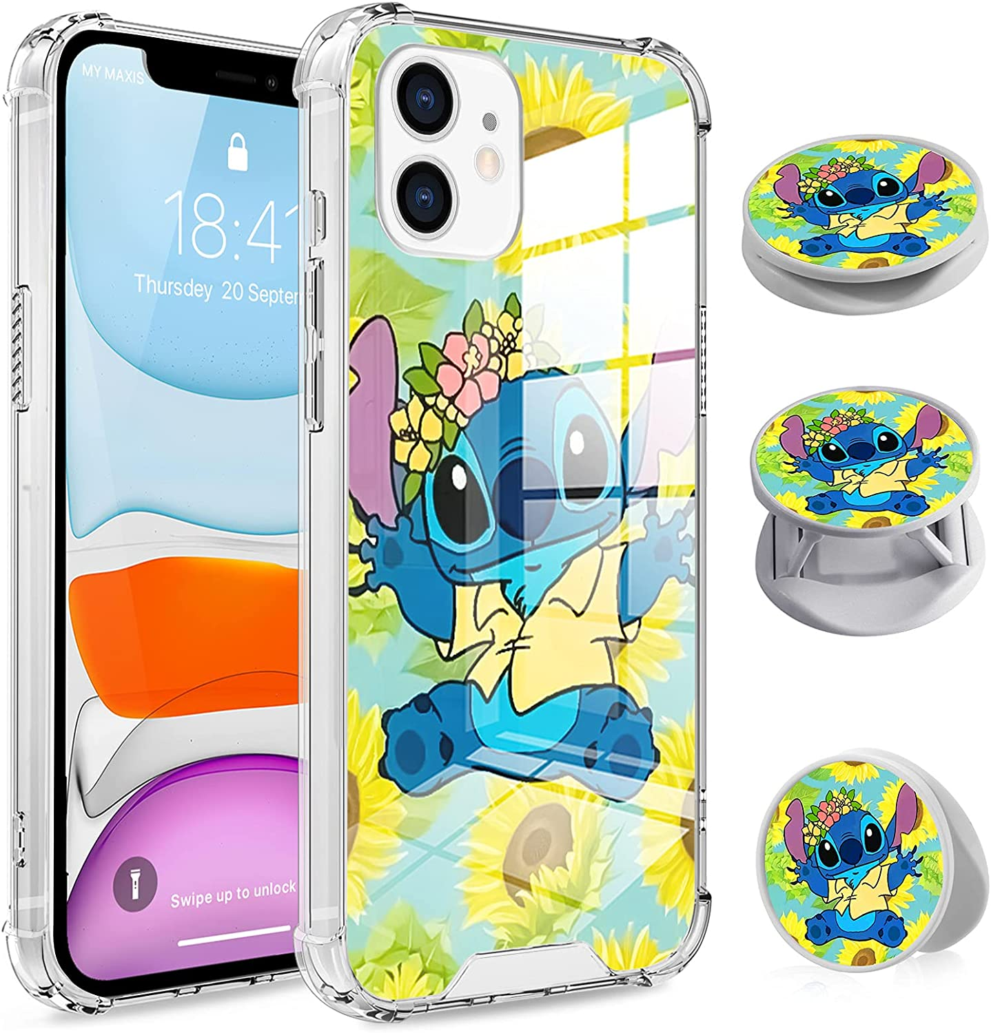 Compatible with iPhone 11 Sunflower&Stitch Case, Clear Anti-Scratch Anti-Shock TPU Bumper Protective Cover for iPhone 11 6.1