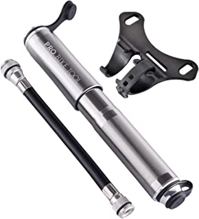 PRO BIKE TOOL Mini Bike Pump – Fits Presta and Schrader – High Pressure PSI..