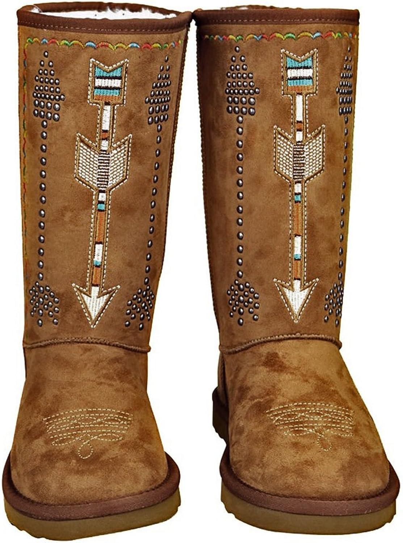 Montana West Studded Arrow, Fringe Boots- Black, Size 10