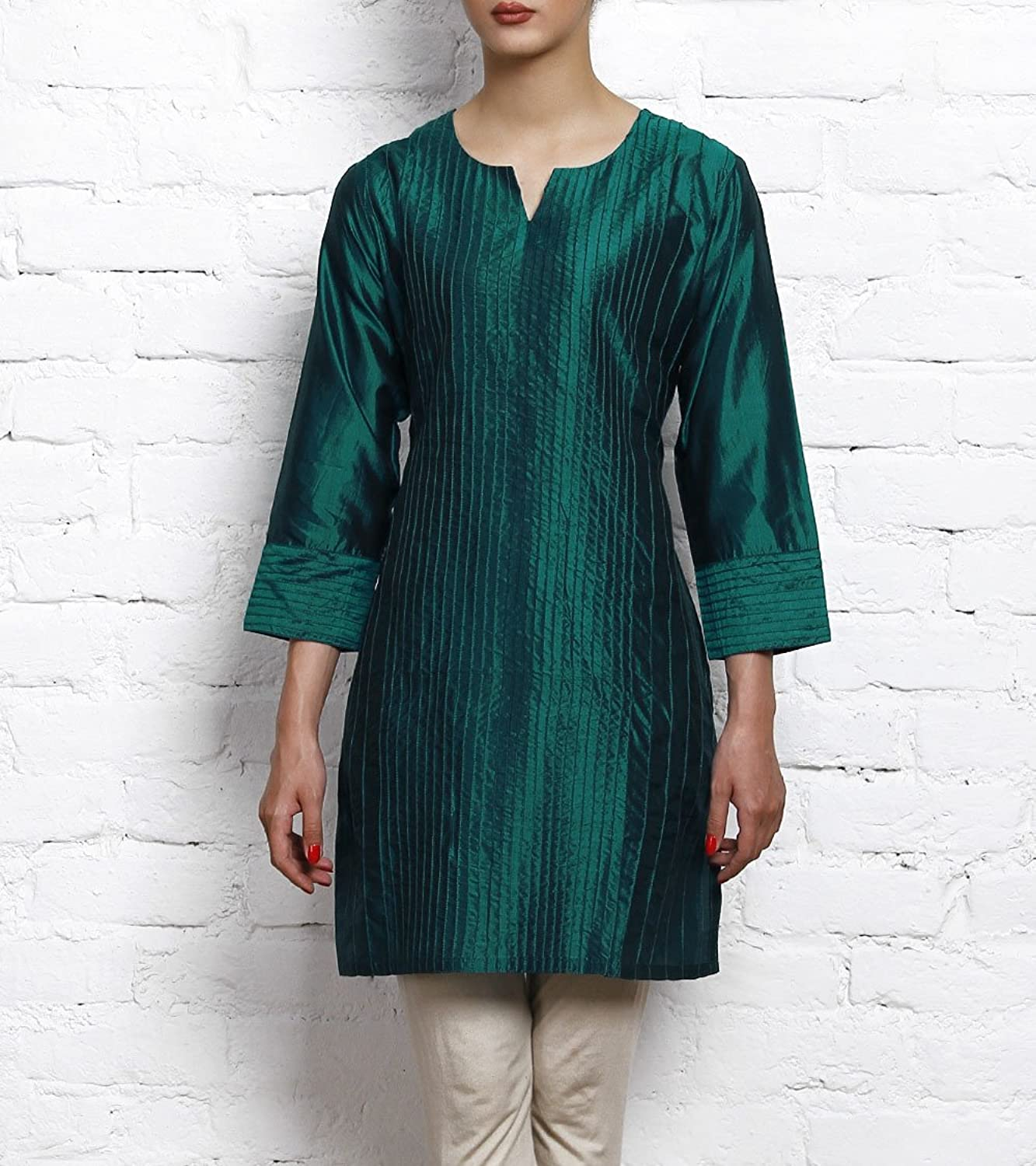 bluee Silk Kurta with Stitch Details Vedanta