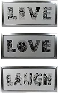Ashes to Beauty 6x14 Picture Frames Set of 3 Live Love Laugh - Made to Display Pictures in Each Letter Sizes 6x3.5 Easy to Hang Saw Tooth Hook or Place Standing with Added Swivel Tab