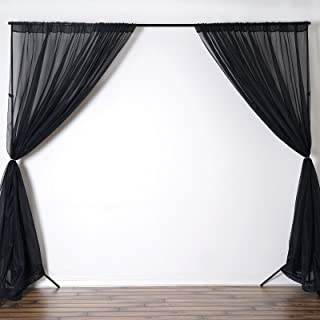 BalsaCircle 10 feet x 10 feet Black Sheer Voile Backdrop Drapes Curtains - Wedding Ceremony Party Home Decorations