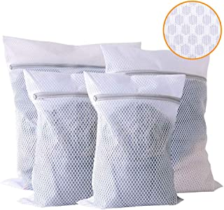 Extra Large Mesh Laundry Bag, 4 Pack Zippered Polyester Delicates Washing Bag, Washer and Dryer Safe Lingerie Laundry Bag for Coats, Pants, Shirt, Socks, Sweaters and Bed Sheet, Travel Laundry Bag