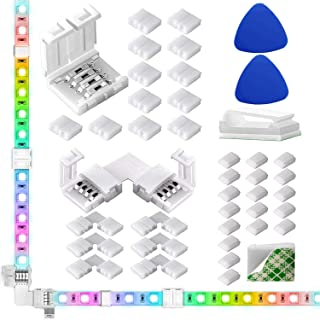 LED Light Strip Connectors, 10mm Unwired 4 Pin RGB LED Lights Connectors kit, 12 Gapless Connectors, 6 L Shape Connectors ...