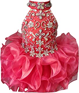 Jenniferwu Infant Toddler Baby Newborn Little Girl`s Pageant Party Birthday Dress G284 Coral SIZE18-24M