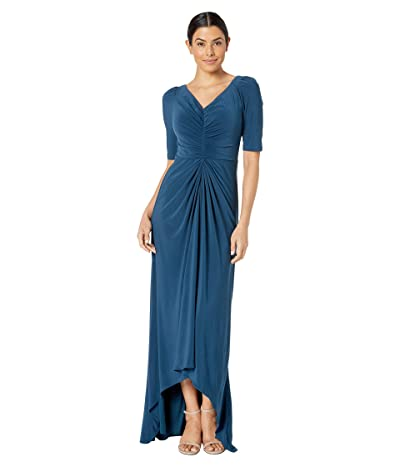 Adrianna Papell Puff 3/4 Sleeve High-Low Jersey Gown (Midnight Teal) Women