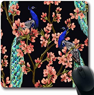 Ahawoso Mousepads for Computers Floral Pink Tree Peacock Tropical Vintage Abstract Asia Bird Bloom Blooming Design Romantic Oblong Shape 7.9 x 9.5 Inches Non-Slip Oblong Gaming Mouse Pad