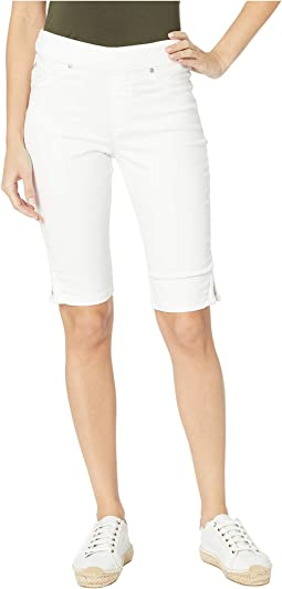 Colored Knit Denim Pull-On Bermuda w/ Braid Detail in White