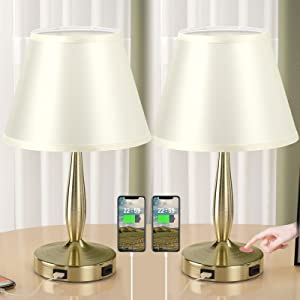 Table Lamps for Bedrooms Set of 2, Touch Control Dimmable Bedside Lamp with USB Ports, Side Table Lamps for Living Room, Office, Dorm Room, w/ Light-Yellow Shade and Gold Metal Base(Bulb Included)