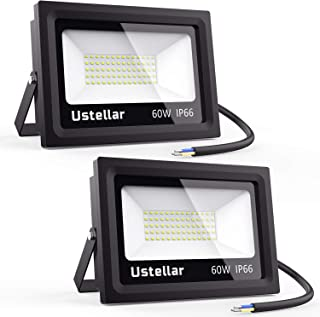 Ustellar 2 Pack 60W LED Flood Light, IP66 Waterproof, Outdoor Super Bright Security Lights, 300W Halogen Bulb Equivalent, 5000K Daylight White, Floodlight Landscape Wall Lights