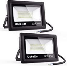Ustellar 2 Pack 60W LED Flood Light, IP66 Waterproof, Outdoor Super Bright Security..