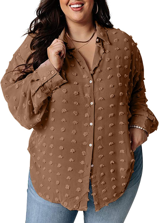Sidefeel Womens Plus Size V Neck Long Sleeve Swiss Dot Buttom Down Shirt Blouse