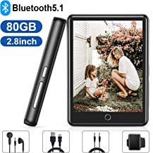 MP3 Player, 80GB MP3 MP4 Player with Bluetooth 5.1, 2.8'' Full Touch Screen Portable Bluetooth MP3 Player with Built-in Speaker, FM Radio, Recorder, HiFi Lossless Music Player, Support up to 128GB