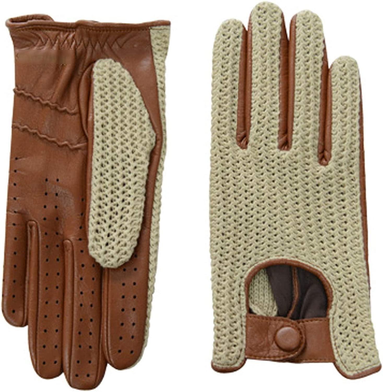 1組の男性のタッチスクリーンの編む運転のオートバイの革手袋 スポーツ用手袋 (Color : 褐色, Size : L)