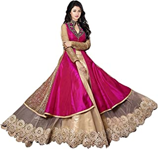 Aaina Women's Net Embroidered Semi-stitched Salwar Suit (VK-SL004, Dark Pink, Free Size)