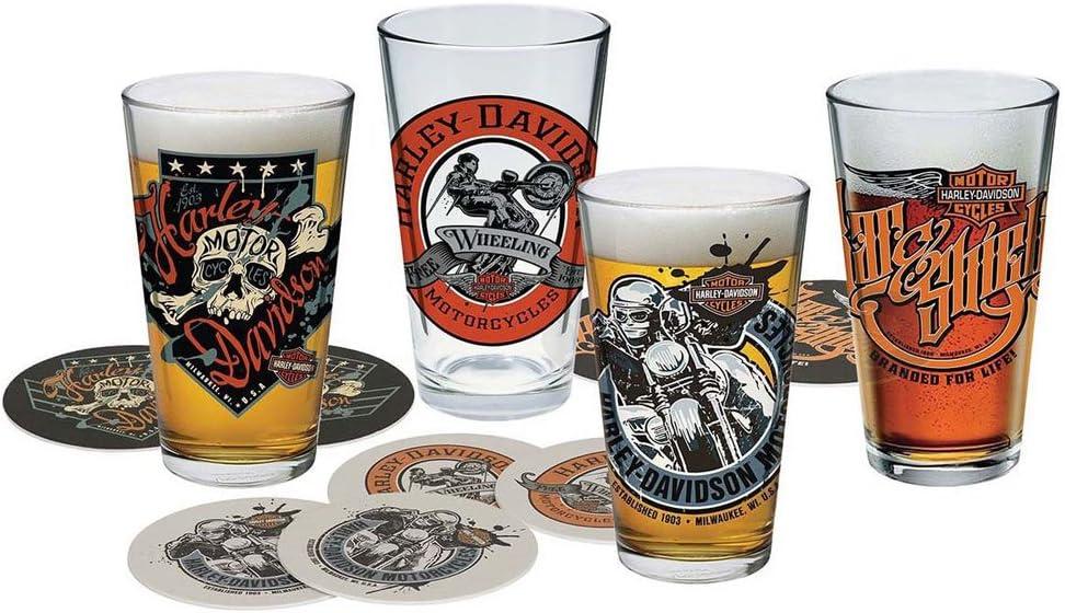 Harley-Davidson Free Wheeling Pint Glasses w 16 oz Coasters Set 35%OFF 人気上昇中