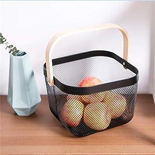 Boîte de rangement Panier de rangement en bois poignée de fruits Vegatable panier Etal Mesh Bag Panier de rangement Organi...