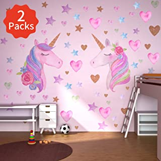 Beanlieve 2 Pack Unicorn Wall Stickers, Removable Unicorn Wall Decals with Hearts & Stars, Reflective Unicorn Wall Decor Stickers for Birthday Party,Kids Bedroom, Baby Nursery Room (2-Sticker)