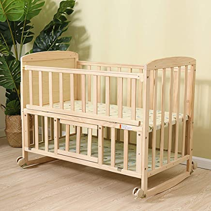 ALBB Solid wood crib  Baby Children s cradle bed with Mosquito Net  Bunk bed Converts desk Suitable 0-3 year old baby