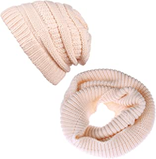 Winter Knitted Beanie Hat and Scarf Set for Woman and Men-Unisex Cable Knit Neck Head Warmer Set