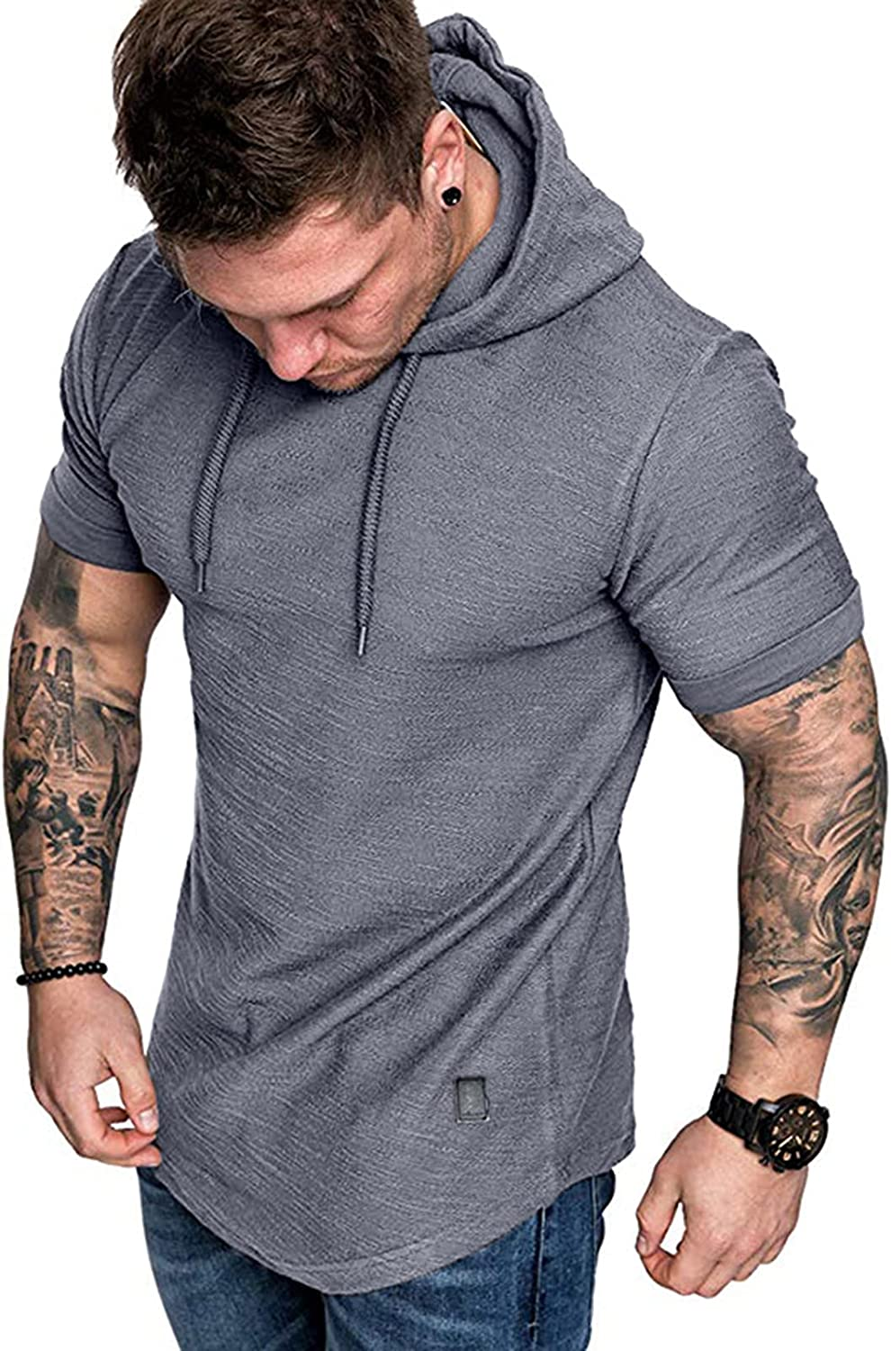 Mens Fashion Workout Hooded T-Shirts Casual Sport Atheletic Hoodies Cotton Short Sleeve Tops