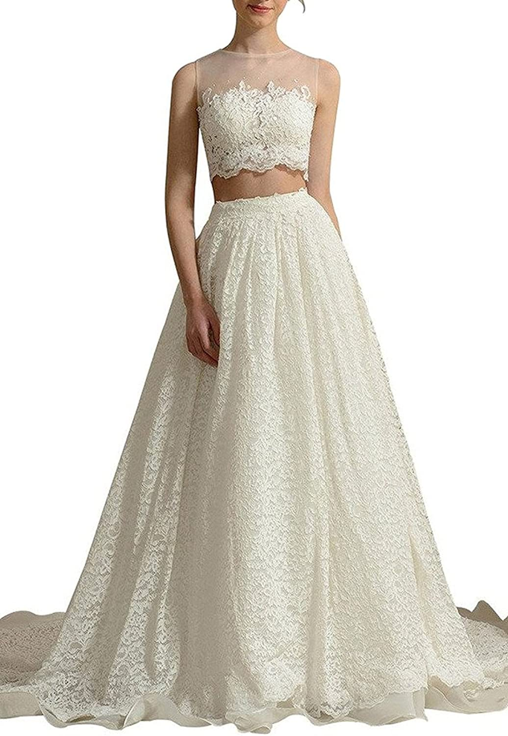 Dearta Women's ALine Two Pieces Long Scoop Sheer Wedding Dresses with Appliques