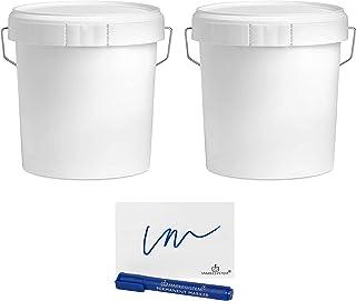 MARKESYSTEM - Seau à vide industriel Pack de 2 x 4,6 litres - Récipients hermétiques en plastique avec couvercle - Stockag...