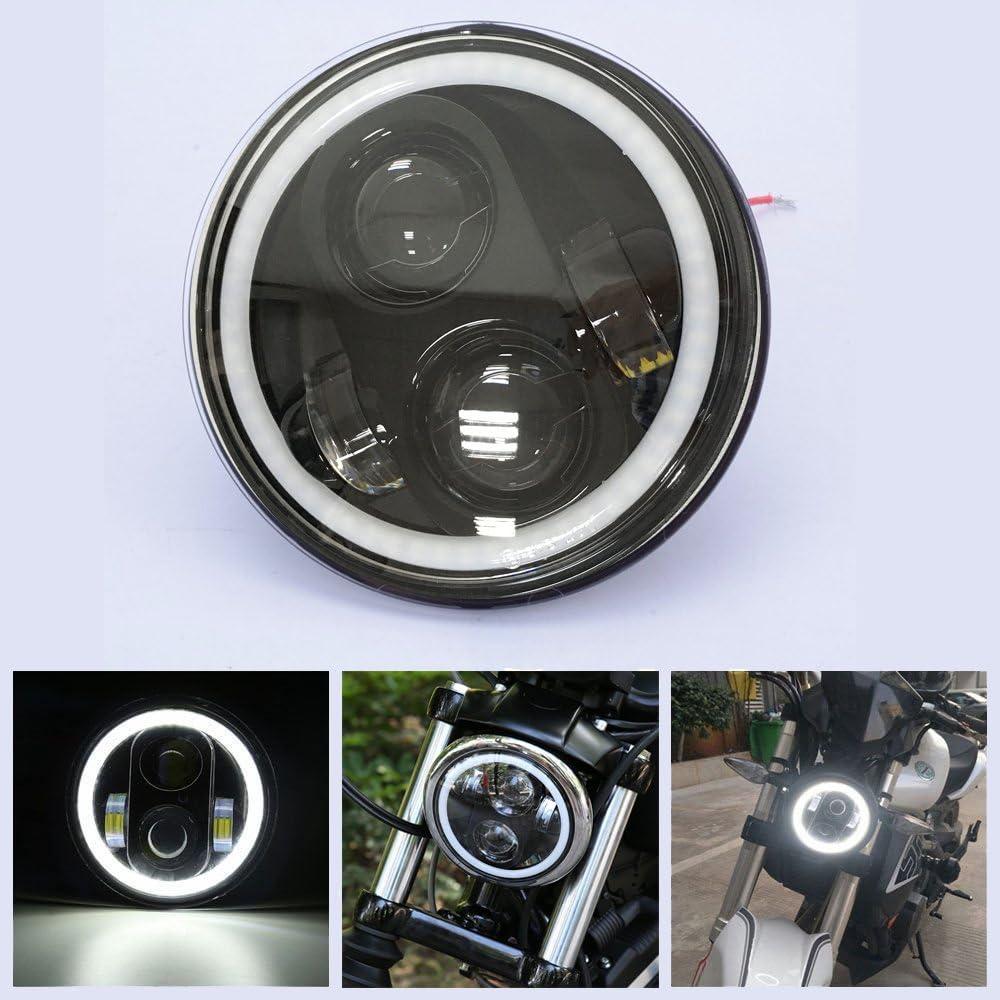 Daymaker Projector Angel Eyes 225 Motorradlicht 40 W Led Scheinwerfer 14 6 Cm Mit Drl Fernlicht Für Harley Davidson Schwarz Auto