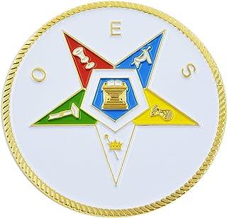 "Order of the Eastern Star White Masonic Auto Emblem - 2"" Diameter"