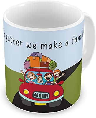 Gift for Family Mom Dad Son Daughter Birthday Anniversary Together We Make Family Blue Green Printed Best Quality Ceramic Mug Everyday Gifting