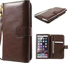 DFV mobile - Crazy Horse PU Leather Wallet Case with Frame Touchable Screen and Card Slots for ZTE V5 Red Bull - Brown