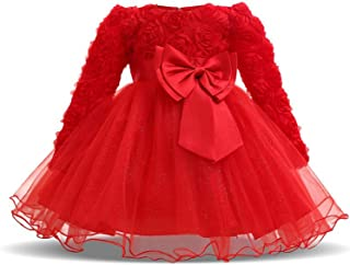 TTYAOVO Baby Girls Christening Dress Chiffon Applique Birthday Party Tutu Dress for Toddler Girl