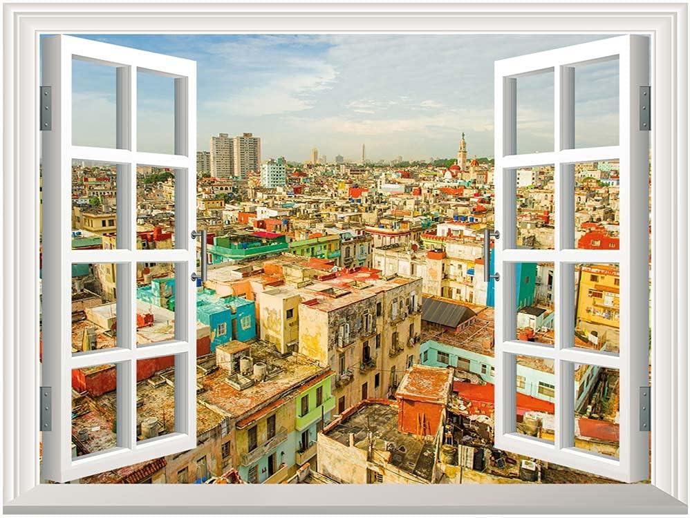 Travel Open Window Mural Canvas Surprise price Panorama Wall Many popular brands of Havana Sticker