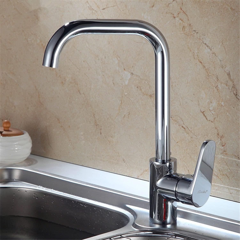 QIMEIM Spültischarmatur Wasserhahn Küche Verchromtes Messing mit heiem und kaltem Wasser Spültisch Armatur Küchenarmaturen Waschtischarmatur