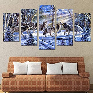 ZYYWAI 5 Canvas Paintings Mural Hd Prints Pictures Home Decor Pieces Sunset Glow Purple Lavender Fields Landscape S Wall Art Posters-12x16in 12x24in 12x32in