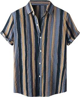 ZHUYOU Men's Striped Cotton Linen Shirts Summer Short Sleeve Beach Shirt Casual Relaxed Fit Button Down Blouse Hawaiian Shirt